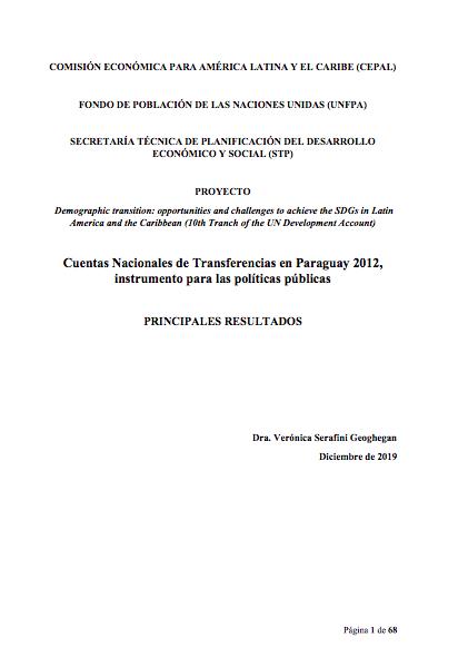 Cuentas Nacionales de Transferencias en Paraguay 2012, instrumento para las políticas públicas