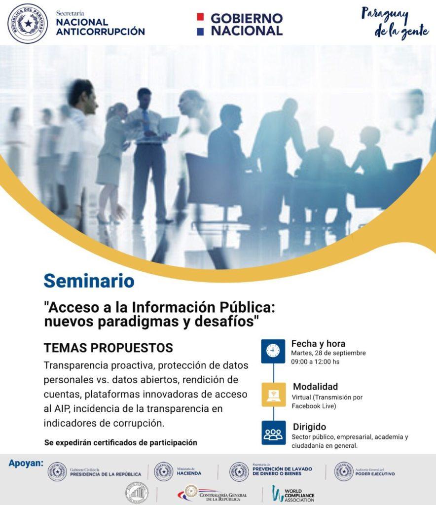 Invitan a seminario en conmemoración al día internacional de acceso a la información pública